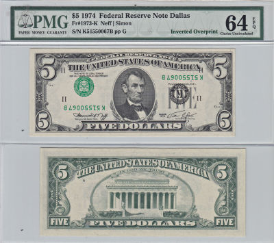 1974. $5. PMG. Ch Unc-64. EPQ. Federal Reserve Not