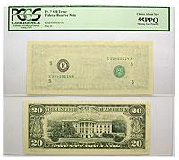 Undated. $20. PCGS. Ch AU-55. PPQ. Federal Reserve