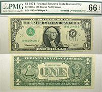 1974. $1. PMG. Gem-66. EPQ. Federal Reserve Note.