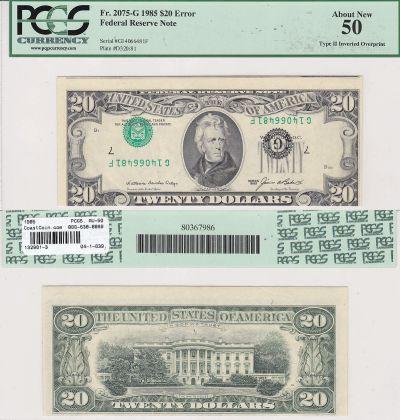 1985. $20. PCGS. AU-50. Federal Reserve Note.