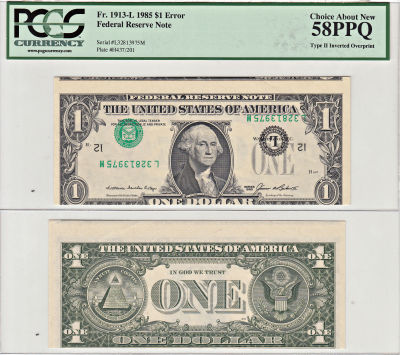 1985. $1. PCGS. Ch AU-58. PPQ. Federal Reserve Not