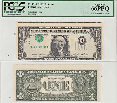 1985. $1. PCGS. Gem-66. PPQ. Federal Reserve Note.