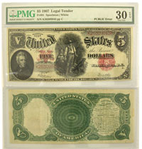 1907. $5. PMG. VF-30. Legal Tender Note.