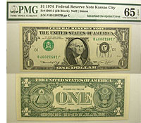 1974. $1. PMG. Gem-65. EPQ. Federal Reserve Note.