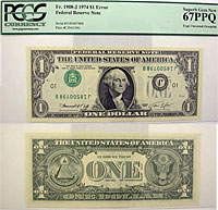 1974. $1. PCGS. Superb-67. PPQ. Federal Reserve No