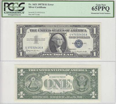 1957-B. $1. PCGS. Gem-65. PPQ. Silver Certificate.